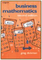 new book, title: Business mathematics / Greg Dickman.