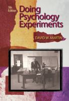 new book, title: Doing psychology experiments / David W. Martin.