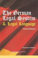 new book, title: The German legal system and legal language : a general survey together with notes and a German vocabulary / Howard D. Fisher.