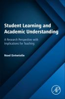 new book, title: Student Learning and Experiences of Academic Understanding [electronic resource] : Research and Its Implications for Teaching and Studying / Entwistle, Noel.