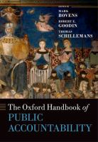 new book, title: The Oxford handbook of public accountability / edited by Mark Bovens, Robert E. Goodin and Thomas Schillemans.