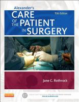 new book, title: Alexander's care of the patient in surgery / Jane Rothrock ; associated editor, Donna McEwen.