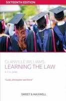 new book, title: Glanville Williams : learning the law / by Glanville Williams.
