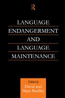 new book, title: Language Endangerment and Language Maintenance [electronic resource]: An Active Approach