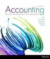 new book, title: Accounting [electronic resource] : business reporting for decision making / Jacqueline Birt [and four others].