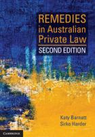 new book, title: Remedies in Australian private law / Katy Barnett and Sirko Harder.