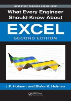 new book, title: What every engineer should know about Excel [electronic resource] / J.P. Holman and Blake K. Holman.