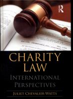 new book, title: Charity law [electronic resource] : international perspectives / Juliet Chevalier-Watts.