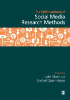 new book, title: The SAGE Handbook of Social Media Research Methods [electronic resource]