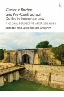 new book, title: Carter v Boehm and pre-contractual duties in insurance law [electronic resource] : a global perspective after 250 years / edited by Yong Qiang Han and Gregory Pynt.