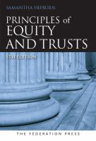 new book, title: Principles of equity and trusts / Samantha Hepburn.
