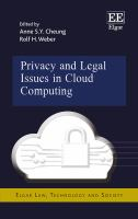 new book, title: Privacy and legal issues in cloud computing / edited by Anne S.Y. Cheung, Professor of Law, University of Hong Kong, Hong Kong; Rolf H. Weber, Chair Professor of Law, University of Zurich, Switzerland.