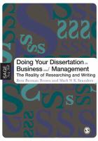 new book, title: Doing Your Dissertation in Business and Management [electronic resource]: The Reality of Researching and Writing