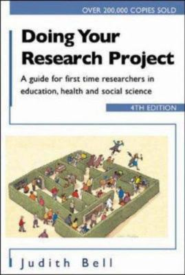 Book Cover - Doing your Research Project, white background with image in lower half of a cartoon maze with many people trying to get through