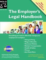 The Employer's Legal Handbook by Steingold, Fred © 1994 (Added: 5/14/18)