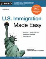 U.s. Immigration Made Easy by Bray, Ilona M. © 1993 (Added: 5/14/18)
