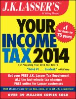 J.K. Lasser's Your Income Tax 2014 book cover