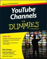 Youtube Channels For Dummies by Ciampa, Rob © 2015 (Added: 5/14/18)