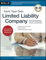 Form Your Own Limited Liability Company by Mancuso, Anthony © 1996 (Added: 5/9/18)
