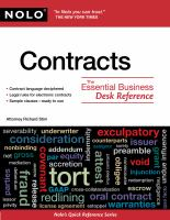 Contracts : The Essential Business Desk Reference by Stim, Richard © 2010 (Added: 4/24/18)