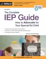 The Complete Iep Guide : How To Advocate For Your Special Ed Child by Siegel, Lawrence M. © 1998 (Added: 5/14/18)