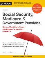 Social Security, Medicare & Government Pensions : Get The Most Out Of Your Retirement & Medical Benefits by Matthews, J. L. © 1986 (Added: 4/24/18)