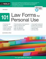 101 Law Forms For Personal Use by Nolo (Firm) © 1998 (Added: 5/9/18)