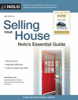 Selling Your House : Nolo's Essential Guide by Bray, Ilona M. © 2017 (Added: 5/14/18)