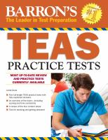 Barron's Teas Practice Tests by Dune, Linda © 2014 (Added: 1/13/15)