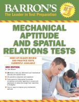 Barron's Mechanical Aptitude And Spatial Relations Tests by Wiesen, Joel P. (Joel Peter) © 2015 (Added: 4/20/16)
