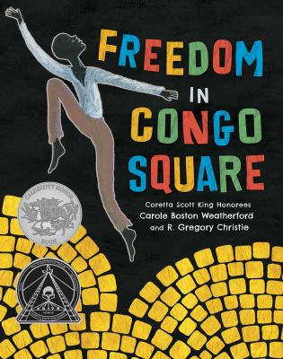 Book Cover - Title in multicolored letters over black figure dancing on yellow pavement against black background.
