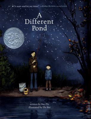 Book Cover - Title in white lettering over illustration of female and young boy fishing at a pond at night.