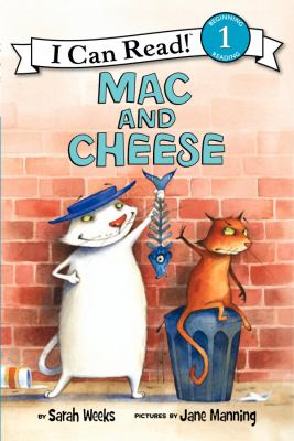 Book cover of Mac and Cheese with two cats, one with a fish skeleton, one sitting on a trash can