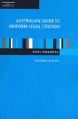 Book jacket image for: Australian guide to legal citation (2nd ed.).