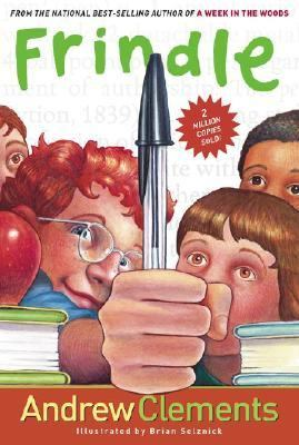 Frindle cover: a red-headed boy holds a basic ballpoint pen triumphantly up in front of three other children