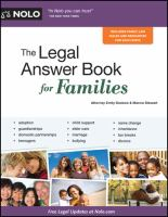 Book cover of The Legal Answer Book  for Families