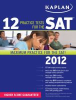 Cover of 12 Practice Tests for the SAT 2012