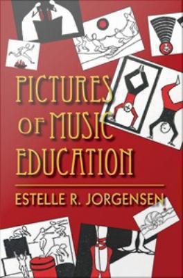 Red cover of Pictures of Music Education with white, black, and red abstract drawings in the background.