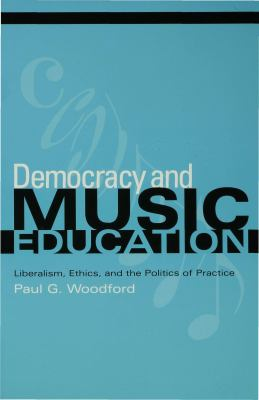 Teal cover of Democracy and Music Education with musical notes in the background and black and white text.