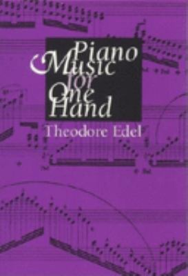 Purple cover of Piano Music for One Hand with printed musical examples in the background in black and title in white.