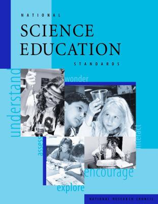 Blue background with 4 black and white stock photographs of children doing science experiments, cover of National Science Education Standards