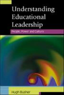 black background with white text at top, lower 2/3 consists of dark swirl with some green and orange highlights, cover of understanding educational leadership