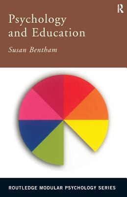 brown title bar with white text above white background with pie chart with 8 even pieces of different colours and one missing piece, cover of Psychology and Education