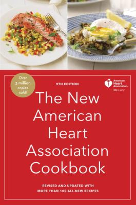 red book cover with white text of The New American Heart Association Cookbook and pictures of two healthy meals