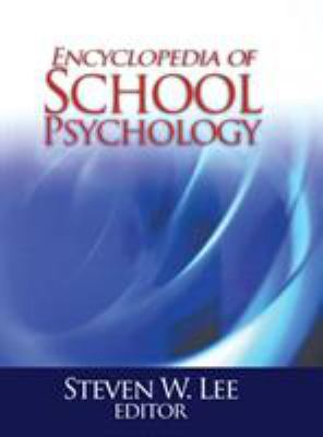 blue swoosh type colouring in lower center of image, white towards top with title, cover of encyclopedia of school psychology