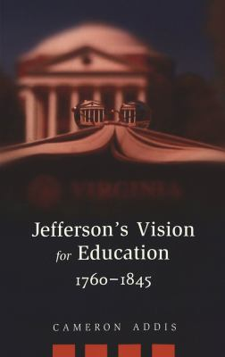 black background with faint image of jerfferson memorial and a book lying face down in front of it, cover of Jefferson's vision for education, 1760 to 1845