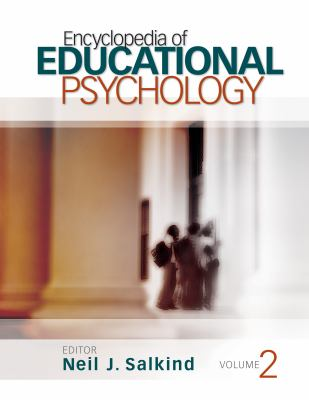 white background with large image of a blurry photo of small group of people standing next to a corner pillar in a hallway, cover of encyclopedia of educational psychology
