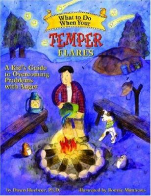 purple book cover with cartoon of teen putting campfire out with water