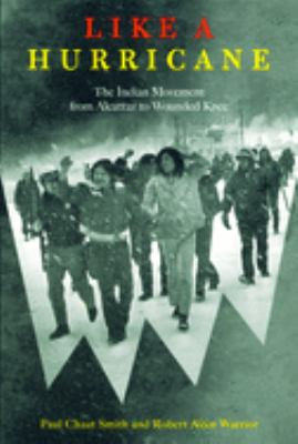 Cover photo for Like a Hurricane by Paul Chaat Smith; Robert Allen Warrior. Soldiers walking for the Indian movement from Alcatraz to Wounded Knee.