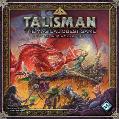 Cover Art shows a party of adventurers fighting a large red dragon. Cover text says: Talisman The magical quest game. The classic fantasy adventure board game for 2 - 6 players.